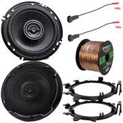 "2 x Kenwood 6.5"" 2-Way 320 Watts Peak Power Automotive Car Audio Speakers with 2 x Enrock Mounting Ring Adaptors, 2 x Speaker Harness, Speaker Wire (Bundle Fits Select GM Vehicles)"