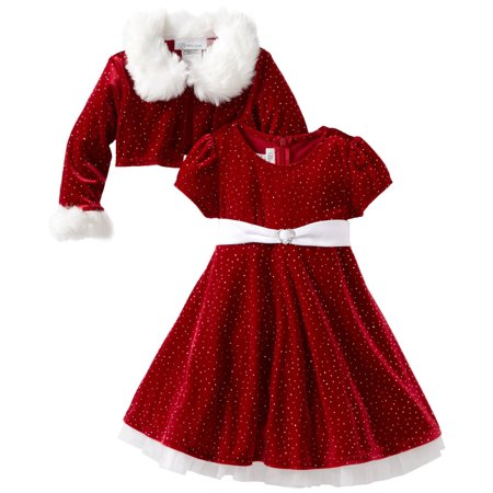 Girls Christmas Dress Red Velour Sparkle Dress with Jacket - Personalized Infant Dresses