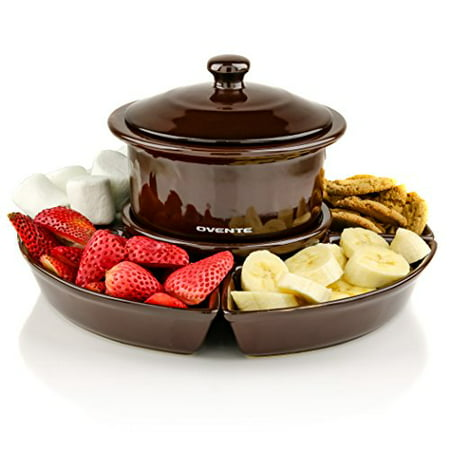 Fun Fondue Set - Ovente 1 Liter Electric Chocolate or Cheese Fondue Melting Pot and Warmer Set, Ceramic Party Serving Tray, Includes 4 Dipping Forks, Brown (CFC317BR)