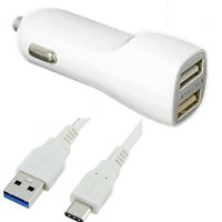 USB Type-C Car/DC Charger for Sony Xperia XZ1, XZ1 Compact, XA1 Plus (Dual USB Port, USB Type-C Data Charging Cable included) - White + MND Stylus