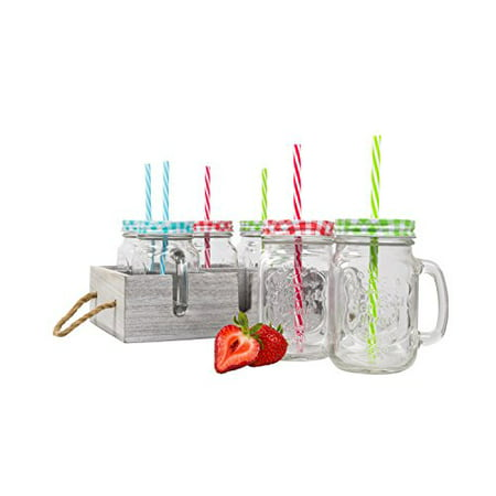 Glass Mason Drinking Jars & Carrier with Reusable Straws, Lids & Handles Set of 6 (Straw Jar)