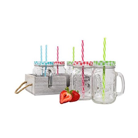 Straw Jar (Glass Mason Drinking Jars & Carrier with Reusable Straws, Lids & Handles Set of)