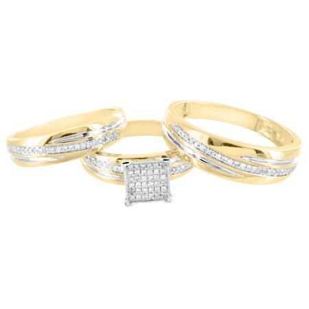 Gold Trio Set Ring - 10k Yellow Gold Trio Set Wedding Ring His Her Bridal Set Engagement 0.28ct Diamond