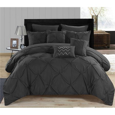 Chic Home CS3396-US 8 Piece Zita Pinch Pleated, Ruffled & Pleated Complete Twin Bed in a Bag Comforter Set with Black Sheets Set & Deocrative Pillows ()
