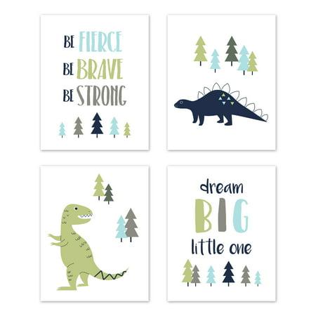 Sweet Jojo Designs  Blue and Green Dream Big Dino Mod Dinosaur Collection Wall Decor Art Prints (Set of 4) ()