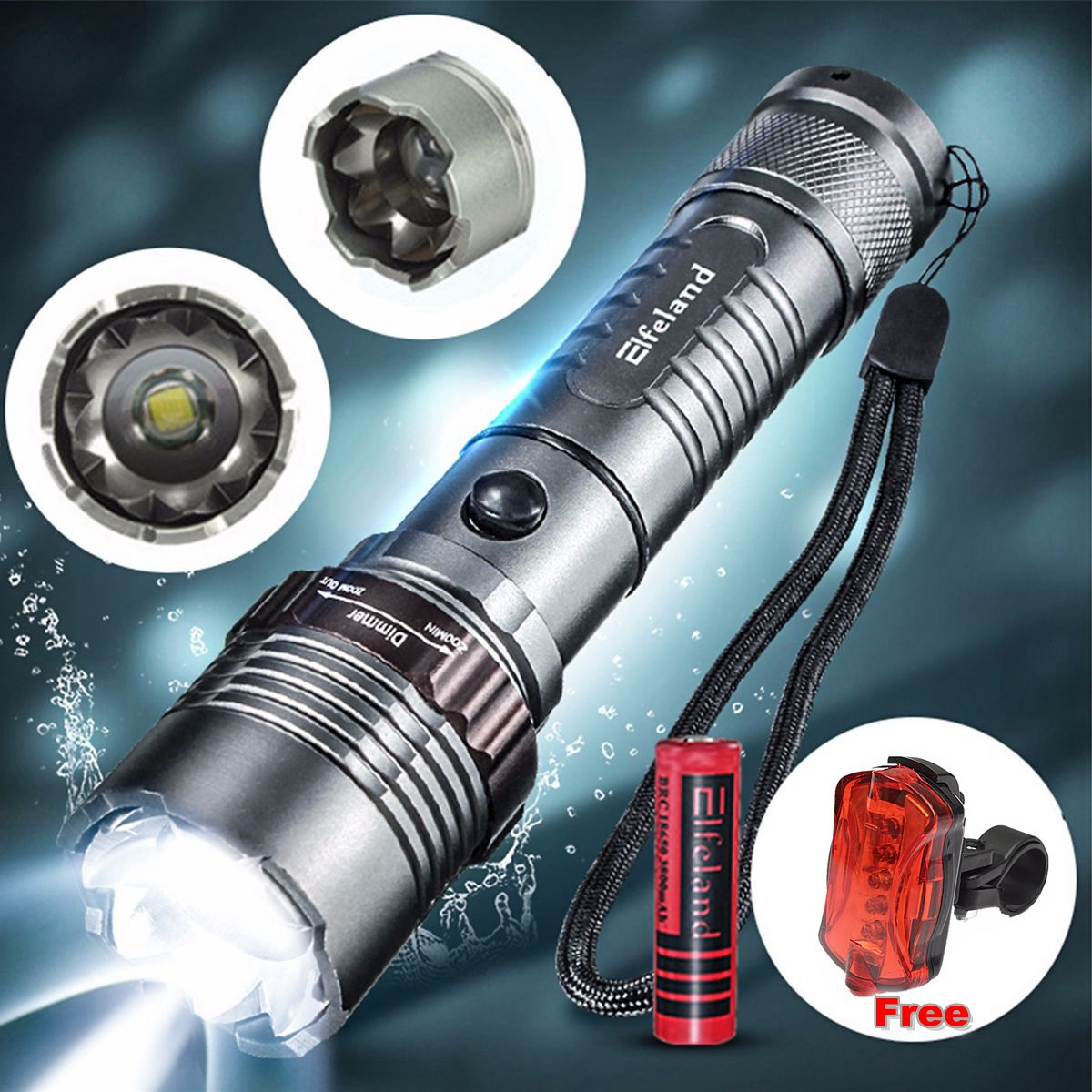 2600 Lumens T6 LED Flashlight Zoomable Focus Flashlight Torch Lamp Super Bright + 18650 Rechargeable Battery + Bike Rear Light for Camping Hiking Cycling