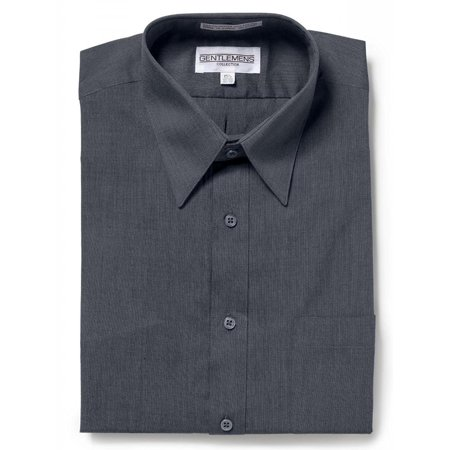 Gentlemens Collection Mens Short Sleeve Dress Shirt - Broadcloth Charcoal 16.5