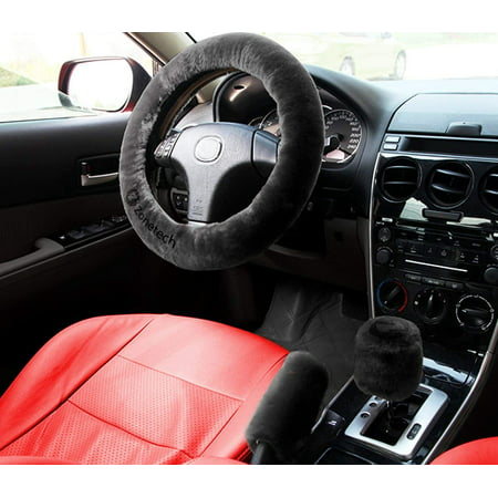 Auto Steering Wheel Cover - Zone Tech Black Non slip Car Decoration Steering Wheel Handbrake Gear Shift Plush Cover   Auto Comfortable Thermal Steering Wheel Cover