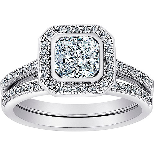 Majestic MicroPave CZ 2-Piece Asscher-Cut Framed Bridal Set in Sterling Silver