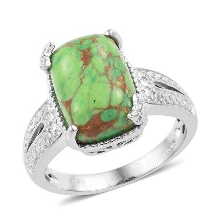- Girls Cushion Green Turquoise Handmade Statement Ring Jewelry Gift