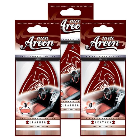 Areon MON Modern Classic Design Hanging Car Air Freshener Leather Scent (3-Pack)