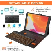 iPad 10.2 8th & 7th Generation Case with Keyboard Detachable Wireless Backlit Keyboard Apple Pencil Holder Folio Cover for iPad 10.2 inch 2019/2020, iPad Air 3, iPad 10.2 Keyboard Case