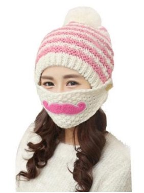 3d06664a7a918 Product Image PaZinger Women s Pompom Cap Women Winter Knitted Crochet Beanie  Hat Beard Face Mask Set Snow Ski