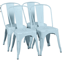 Modern Iron Metal industrial Indoor/Outdoor Dining Chairs, Set of 4, Multiple Colors