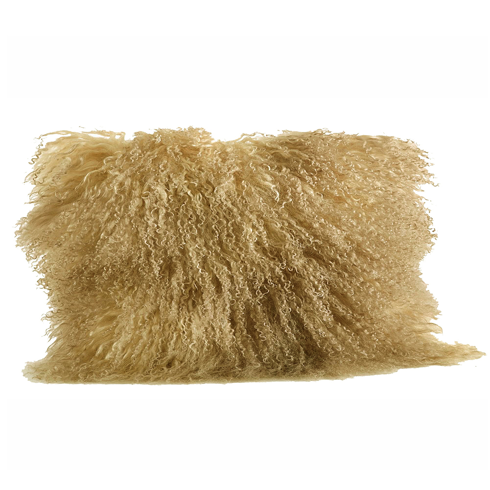 "Pumpkin Orange Real Genuine Mongolian Lamb Fur Pillow, Includes Pillow Filling.  12"" x 20"" Rectangular."