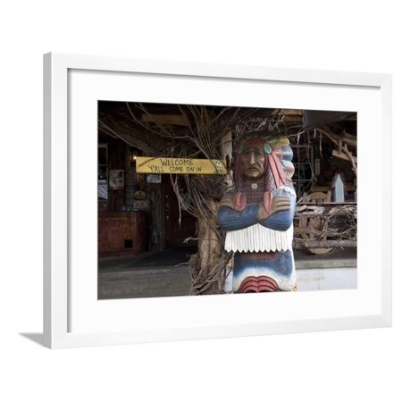 Cigar Store Indian at the Hillbilly Mall Framed Print Wall (Salem Mall Stores)