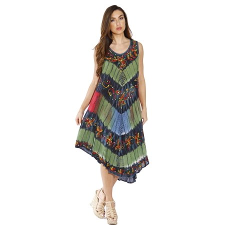 d2a60fe083c Riviera Sun Summer Dresses   Swimsuit Cover Up (Earth Tone Floral Acid Wash