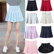 Womens Tennis High Waist Plain Skater Flare Pleated Short Mini Skirt Shorts