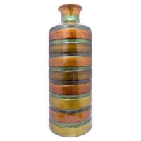 HomeRoots 354508 6 x 6 x 18 in. Multi-color Ceramic Lacquered Striped Small Cylinder Vase