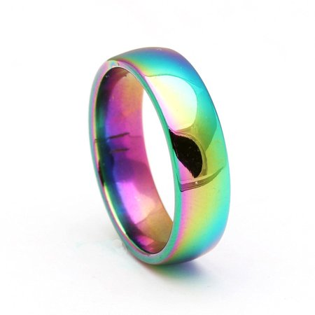 6mm Rainbow Stainless Steel Comfort Fit Wedding Band Ring - Ginger Lyne Collection Cable Comfort Fit Wedding Band