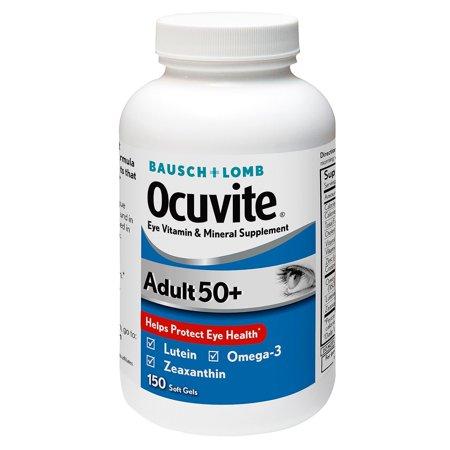 Bausch & Lomb Ocuvite Adult 50+ Eye Vitamin & Mineral Softgels, 150 - 50 Softgels Vitamin