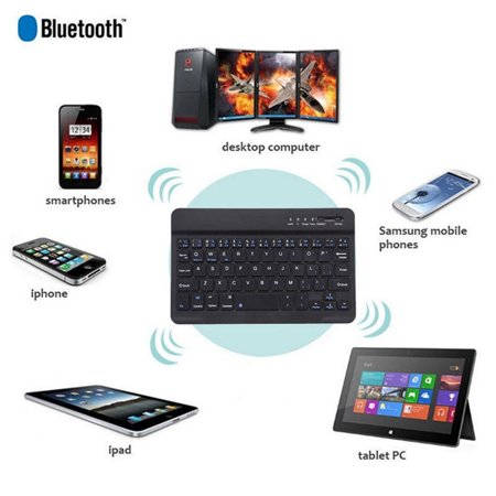 Ultra-Slim Bluetooth Keyboard for Apple iOS iPad Pro, mini 4, iPhone X/8/7Plus/6, Android Tablets (Galaxy Tab), Windows