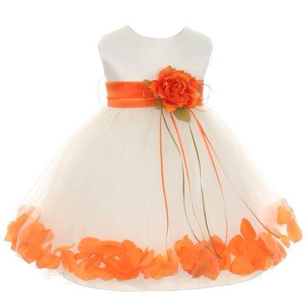 Baby Girls Ivory Orange Satin Petal Floating Flower Girl Dress 18M