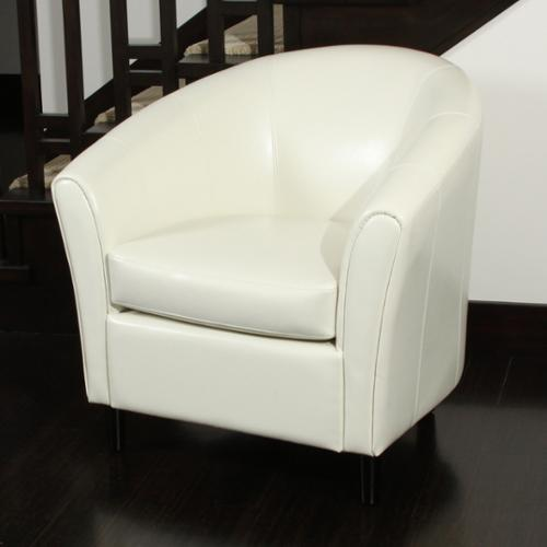 Christopher Knight Home Preston Bonded Leather Ivory Club Chair by by Overstock