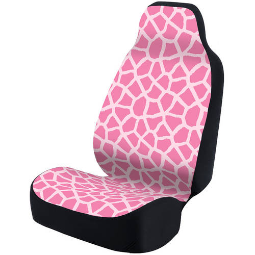 Coverking Universal Seat Cover Fashion Print, Ultra Suede, Giraffe Pink Spots and Pink Background with Black Interlock Backing