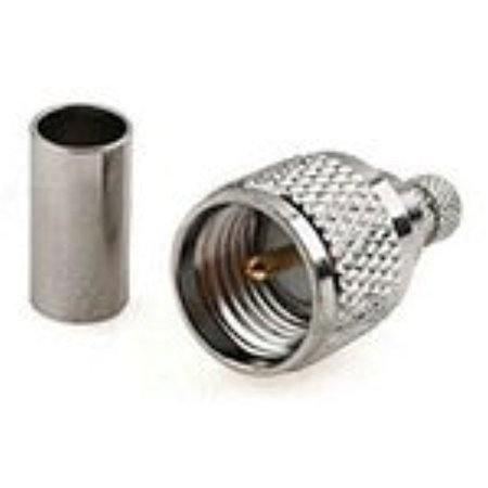 - MINI-UHF male plug RF coax connector crimp for RG58 RG142 cable straight nickelplated Ships Quickly From USA
