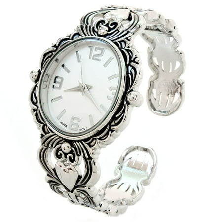Silver Metal Decorated Large Oval Face Women's Bangle Cuff - Flower Cuff Bangle Watch
