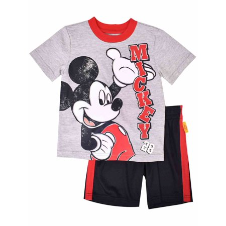 Disney Toddler Boys Distressed Mickey Mouse Outfit Tee Shirt & Shorts Set - Mickey Mouse Outfit