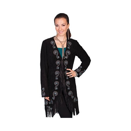 Fringed Womens Motorcycle Jacket (Women's Scully Fringe Embroidered Suede Coat L165)