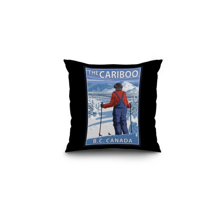Cross-Country Skier - The Cariboo, BC, Canada - Lantern Press Poster (16x16 Spun Polyester Pillow, Black
