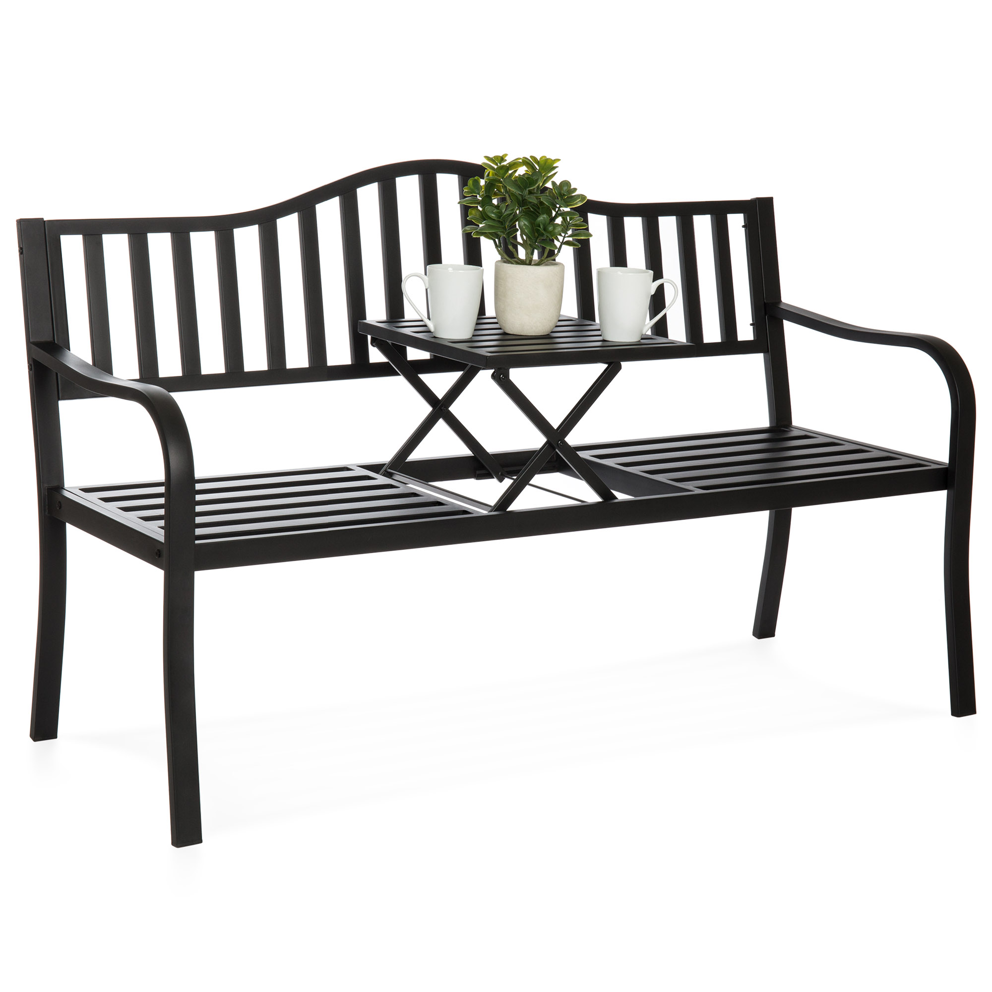 Best Choice Products Cast Iron Patio Garden Double Bench Seat For