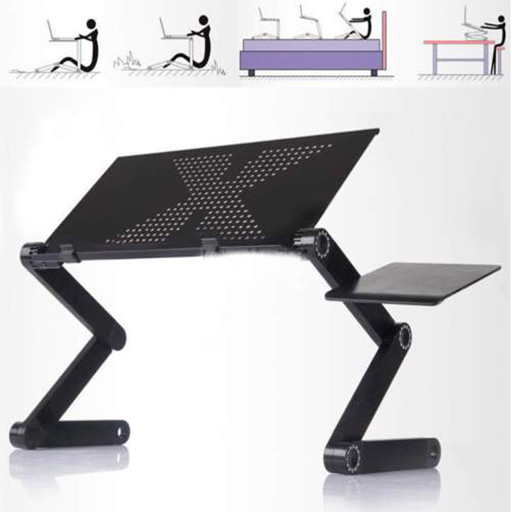 Ktaxon Ergonomics Aluminum Vented Cooling Holes Adjustable Portable Laptop Stand with Attachable Mousepad