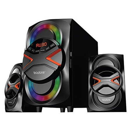 BT-326F, 2.1 Bluetooth Powerful Home Theater Speaker System, with FM Radio, SD USB ports, Digital Playback, 40 Watts, Disco Lights, Full Function Remote Control, for Smartphone,