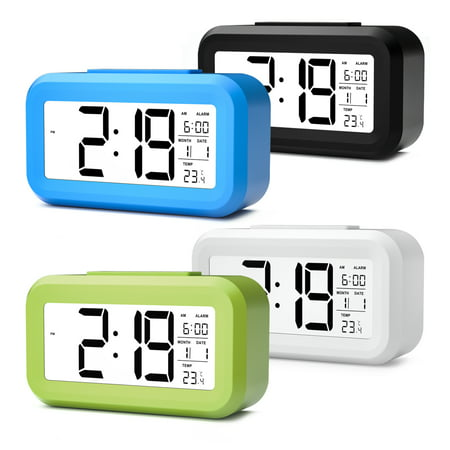 Magicfly Smart Light LCD Alarm Clock, Digital SnoozeAlarm Clock with Backlight Time Calendar Thermometer Temperature, Easy to Set ()