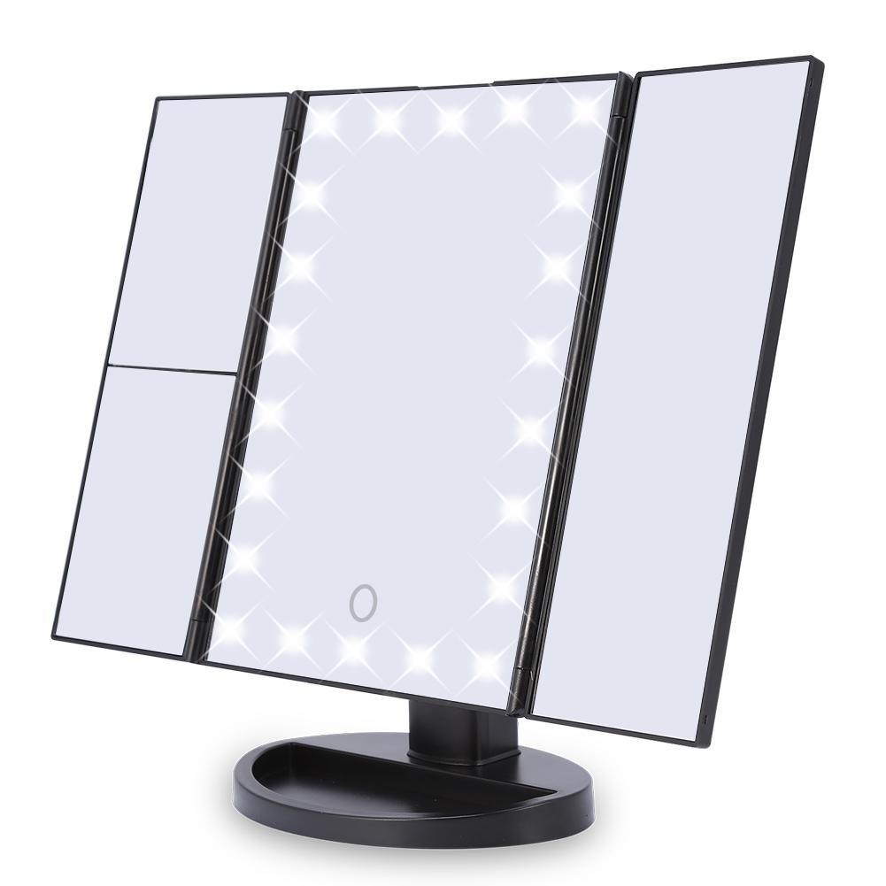 22 LED Lights 10X Magnification Mirror Tri-Fold Magnification Touch Screen Desktop Makeup Mirror (Black)