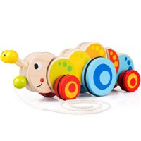 GHP Multicolor Wooden Caterpillar-Shaped Pull Along Toy with Rubber Rimmed Wheels