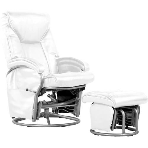 Shermag Bonded Leather Swivel Glider Rocker, White