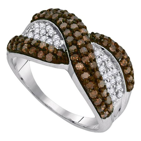 Brown Diamond Cocktail Ring Solid 10k White Gold Fashion Band Chocolate Right Hand Curve Style 1.00 ctw