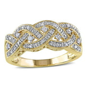 Miabella 1/8 CT TW Diamond Braided Ring in Yellow Plated Sterling Silver
