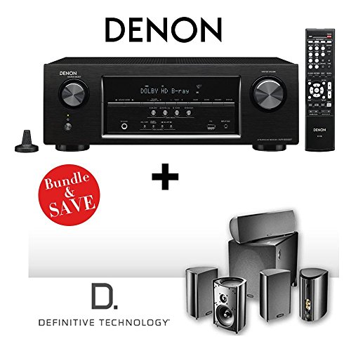 Denon AVR-S500BT 5.2 Channel Full 4K Ultra HD A V Receiver with Bluetooth + Definitive Technology ProCinema 600 5.1 by Electronics Expo