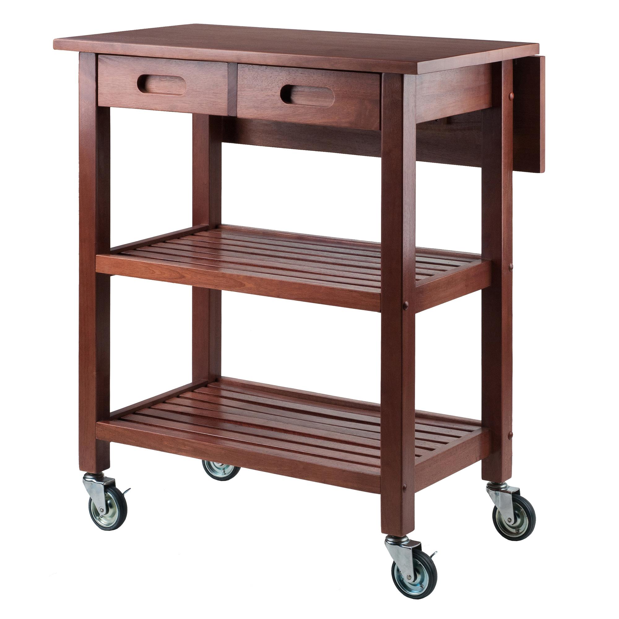 Winsome Wood Jonathan Drop Leaf Utility Kitchen Cart, Walnut