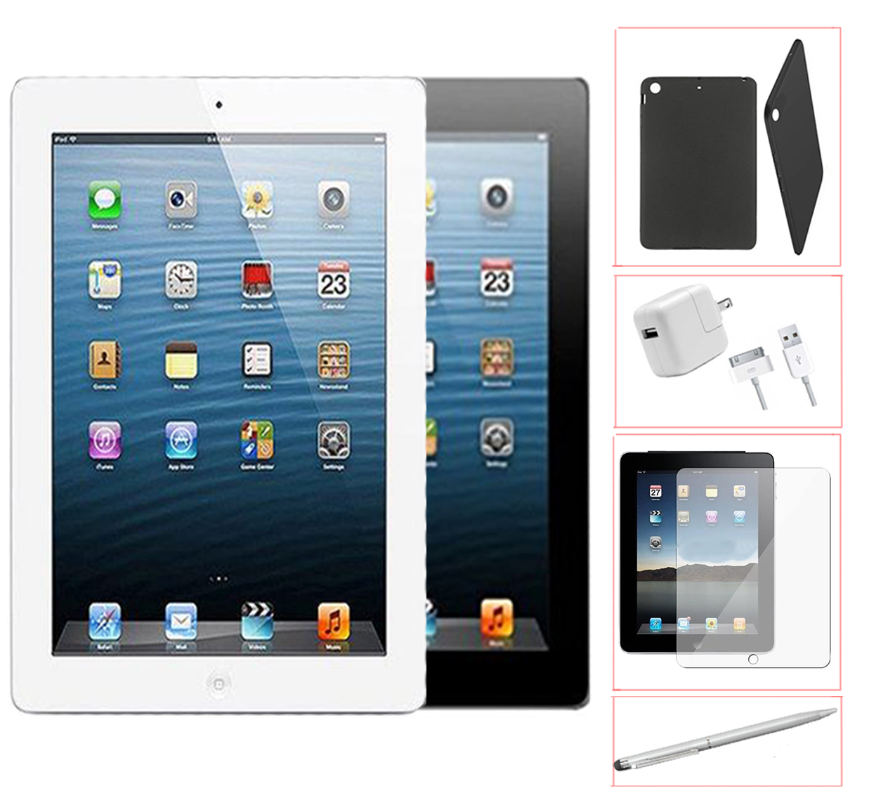 Refurbished Apple iPad 2 16GB Black -WiFi - Bundle - Case, Rapid Charger, Tempered Glass & Stylus Pen