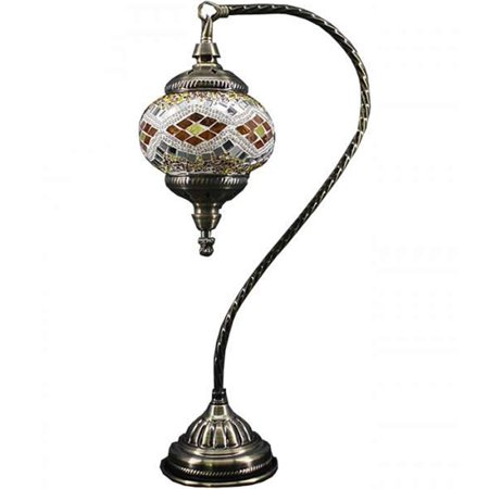 Silver Fever Handcrafted Mosaic Turkish Lamp -Moroccan Glass - Table Desk Bedside Light- Bronze Base (Wave White (Park Handcrafted Lamp)