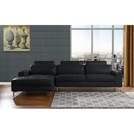 Modern Large Leather Sectional Sofa L Shape Couch With Extra Wide Chaise Lounge Black