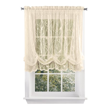 Songbird Shabby Chic Lace Balloon Shade Curtain With Rod Pocket Top 56 W X 63 L Ivory