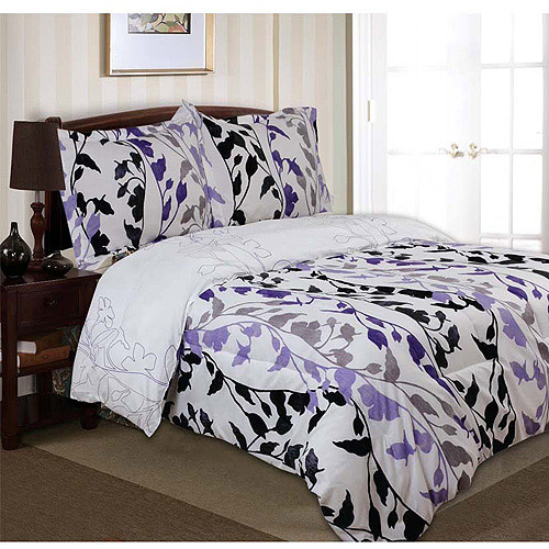 Divatex Home Fashions Printed Grace Bedding Duvet Cover and Sham Mini Set